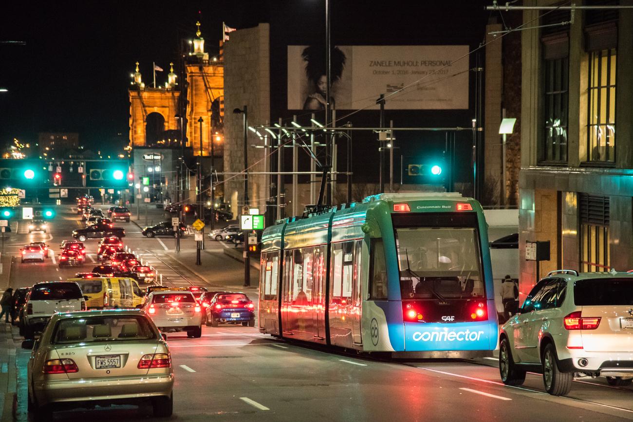 Streetcar on Walnut Street at night